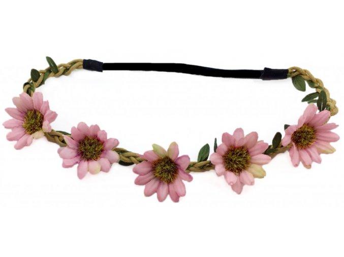 Vintage růžová květinová čelenka