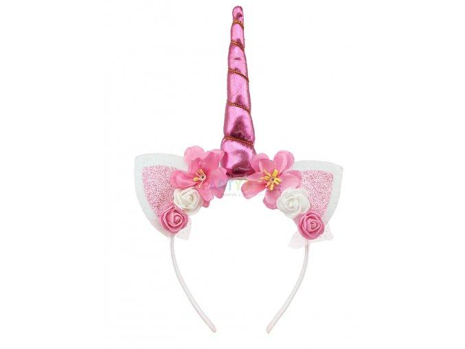 čelenka jednorožec růžová roh