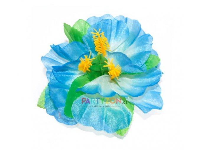 modrá květina do vlasů