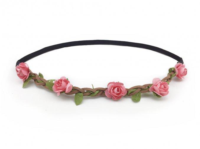 květinová čelenka růžová levně