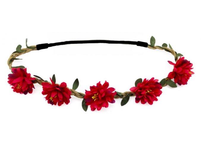 květinová čelenka do vlasů červená
