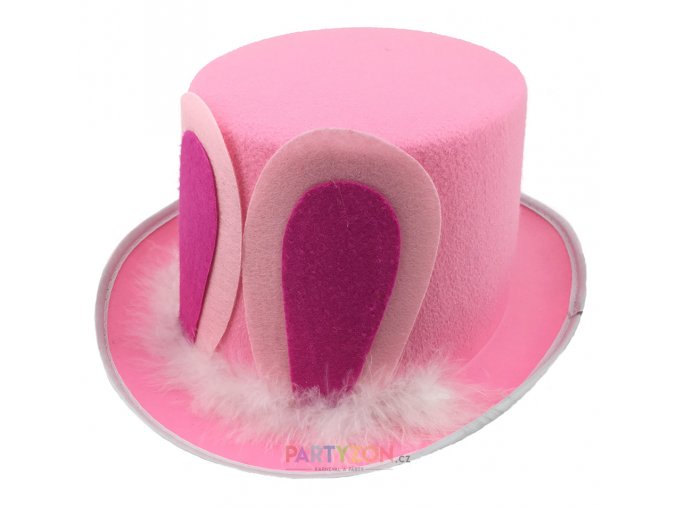 růžový klobouk králičí uši