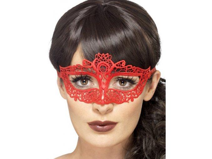 Sexy krajková škraboška červená