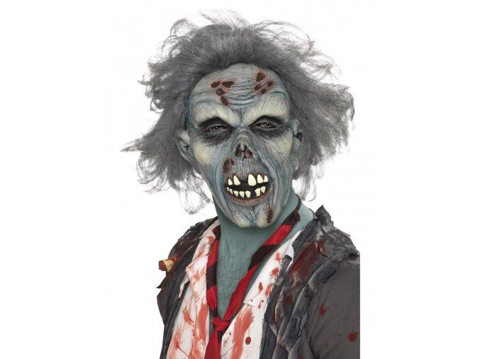 Gumová maska Zombie s vlasy