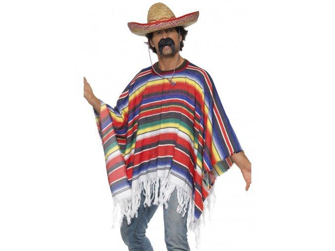 Mexické pončo barevné pruhované