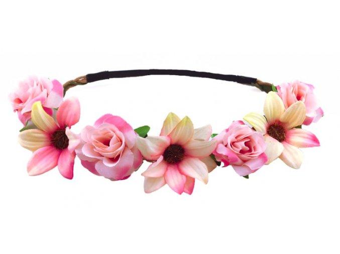 růžová květinová čelenka