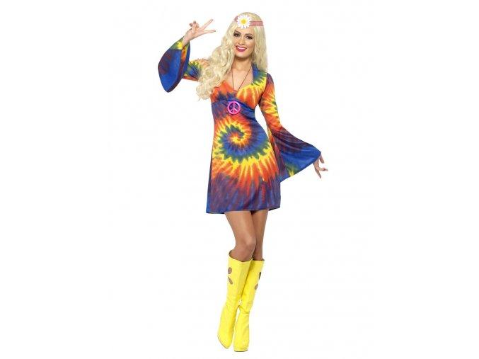 Kostým hippie batikované šaty