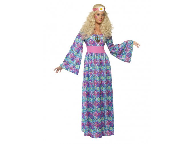 Hippies šaty dlouhé modré