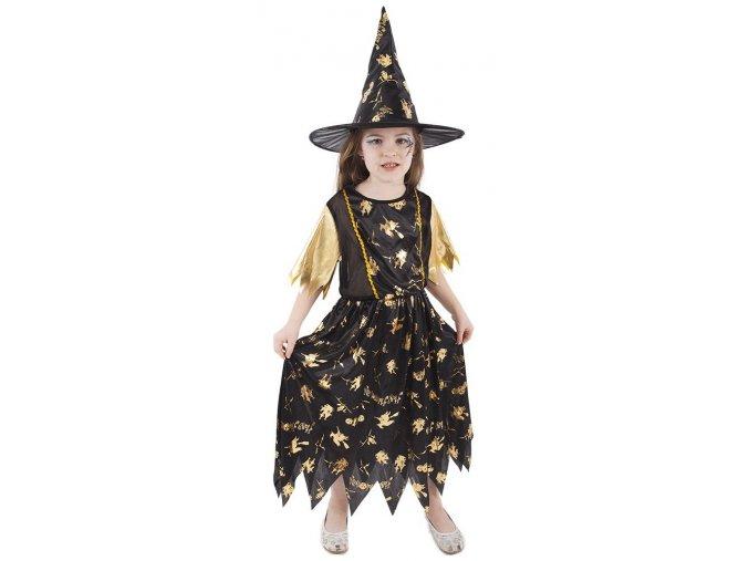 Dětský kostým čarodějnice černo zlatá