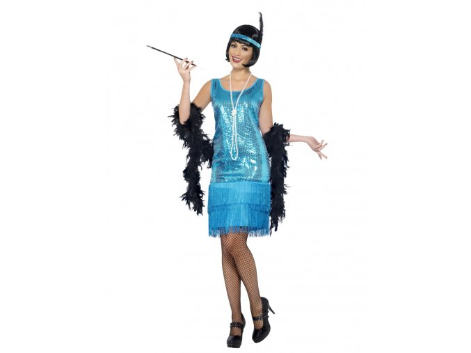 Flapper šaty flitrové modré
