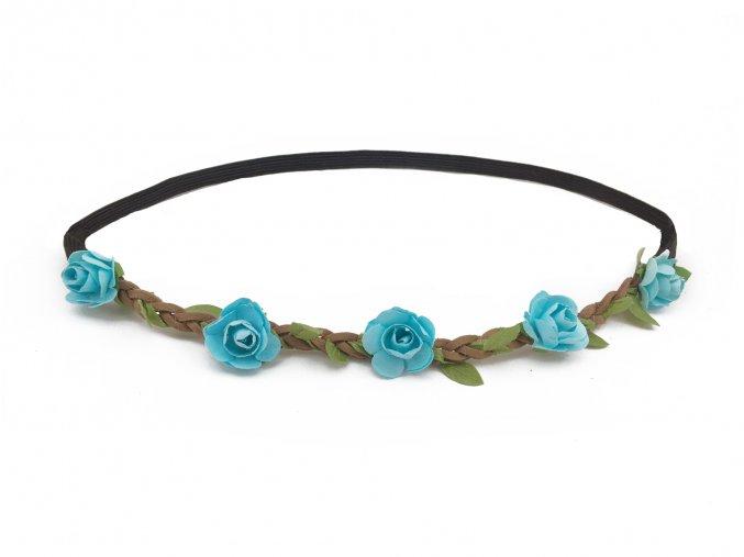 květinová čelenka modrá levně