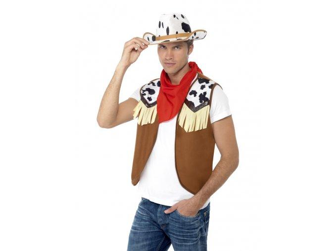 Sada pro kovboje vesta klobouk a šátek