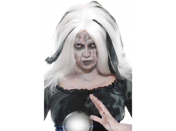 Halloween paruka bílá s pruhy partyzon