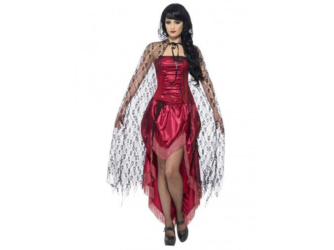 Černý krajkový plášť gothic halloween upírka