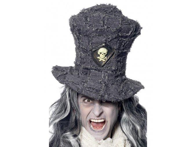 Šedý klobouk hrobník halloween