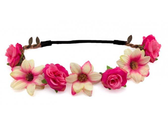 Květinový věneček růžový do vlasů partyzon