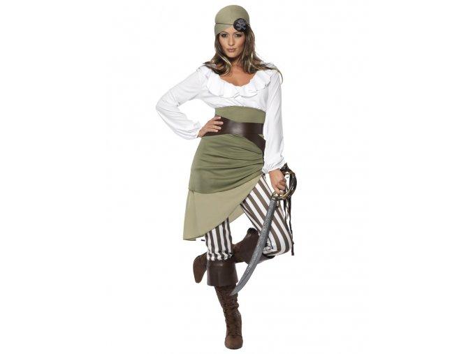 Dámský kostým pirátky zelená