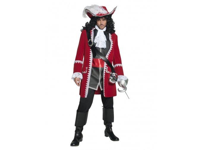 Pánský kostým Pirát kapitán červený karneval