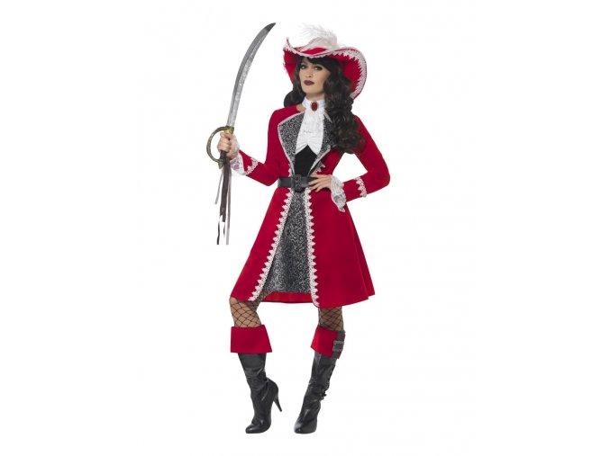 Kostým pirátky Kapitánka červená
