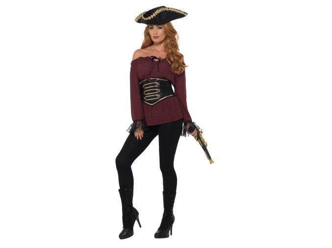 Dámská červená košile pro pirátky dospělý