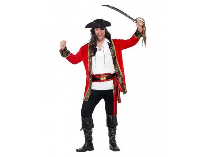 Pánský kostým Kapitán pirát červený