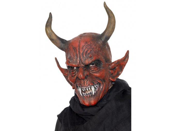 Maska čerta s velkými rohy levně partyzon