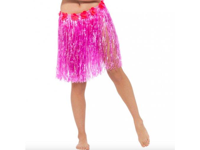 Havajská sukně hula hula růžová