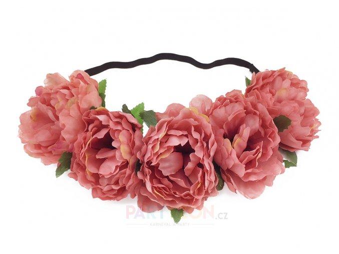 růžová květinová čelenka svatební