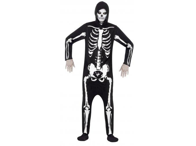 halloween Kostým kostlivce s kapucí