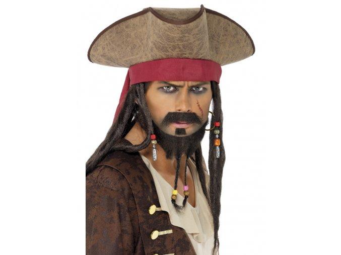 Pirátský klobouk Jack Sparrow (s dredy)