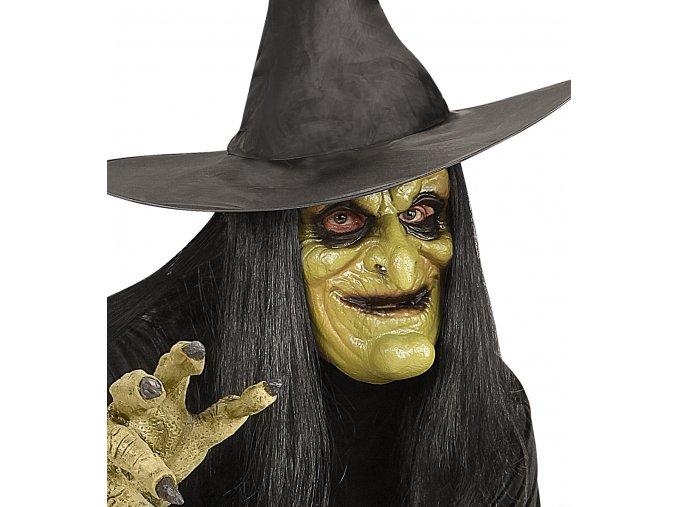 latexová maska čarodějnice zelená