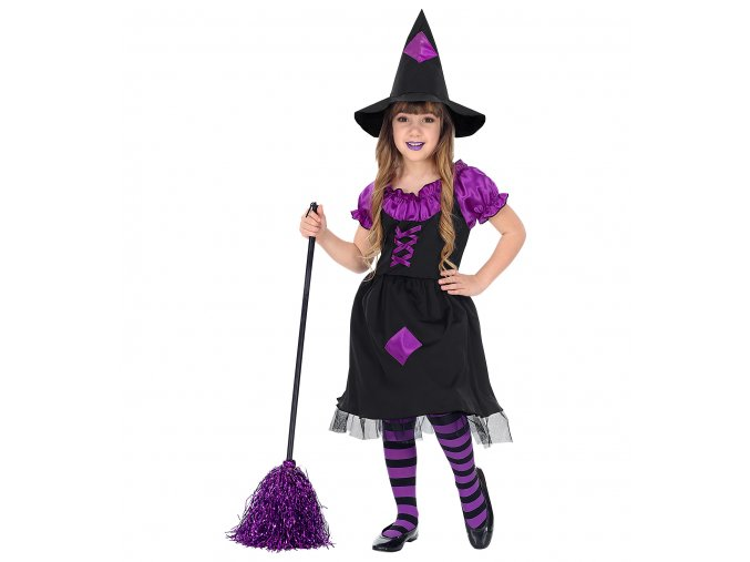fialovočerný kostým čarodějnice dívčí