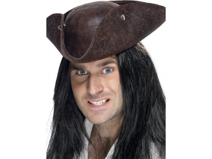 Pirátský klobouk třírohák hnědý
