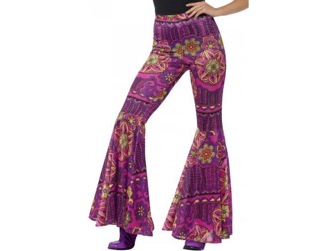 květované zvonové kalhoty