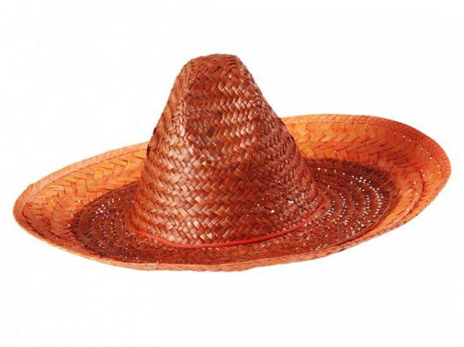 mexicky klobouk sombrero oranzove slamene