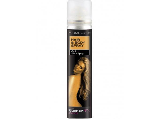 Třpytivý sprej na vlasy a tělo zlatý