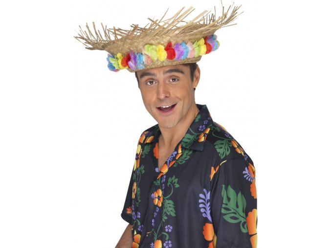 Slaměný klobouk s květinami Hawaii