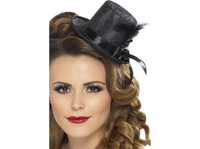 Mini klobouk s peřím černý