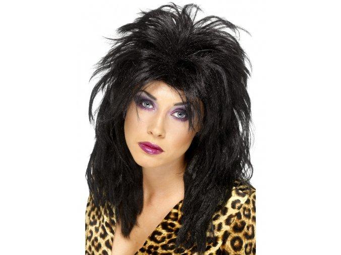 Paruka Popstar 80. léta černá