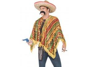 Mexické pončo s knírem oranžové