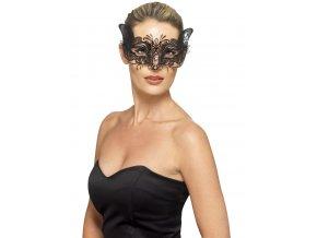 Černá luxusní škraboška Cat
