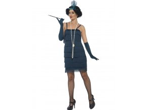 Charleston šaty 30. léta modré tyrkys