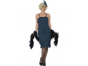 Tyrkysové šaty s třásněmi 20. léta