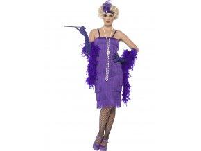 Fialové šaty s třásněmi 20. léta