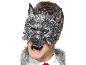 Šedá polomaska Vlk