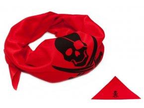 červený pirátský šátek s lebkou