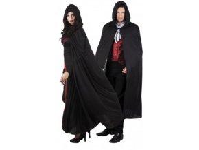 dlouhý černý plášt s kapucí