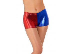 Modročervené kraťasy Harley Quinn