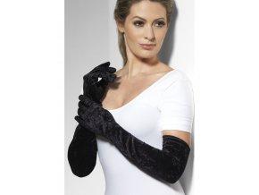 dlouhé sametové rukavice černé