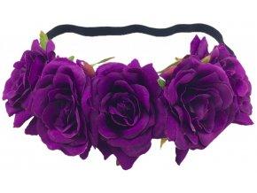 Květinový věneček do vlasů fialové růže